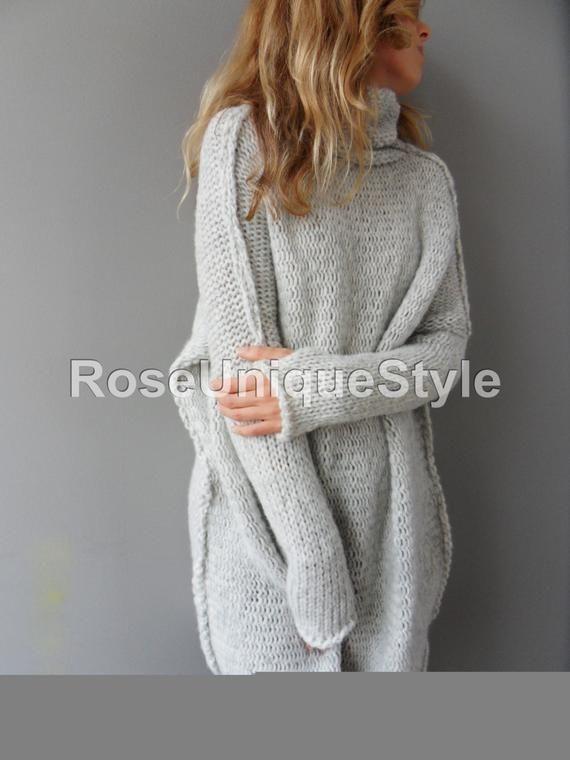 Oversized Wollen Trui.Oversized Chunky Knit Alpaca Woman Sweater Roseuniquestyle Punto