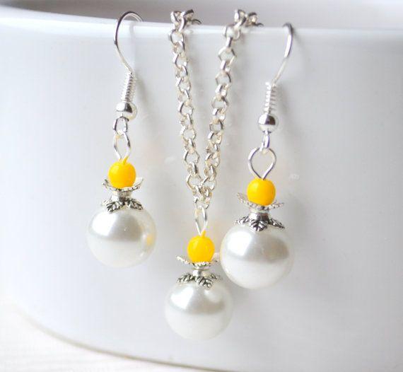 Yellow Bridesmaid jewelry set Yellow jewelry by LaurinWedding, $14.00