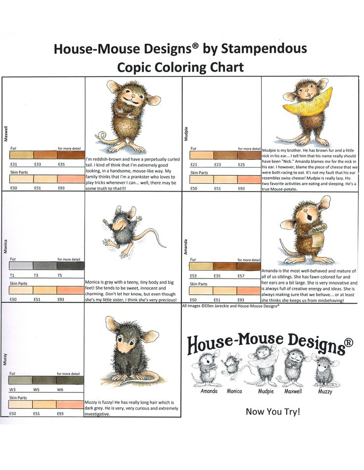 A chart for coloring your House-Mouse Designs® images with #Copic markers. Colored by @Rhea Weigand  Thanks to Stampendous.