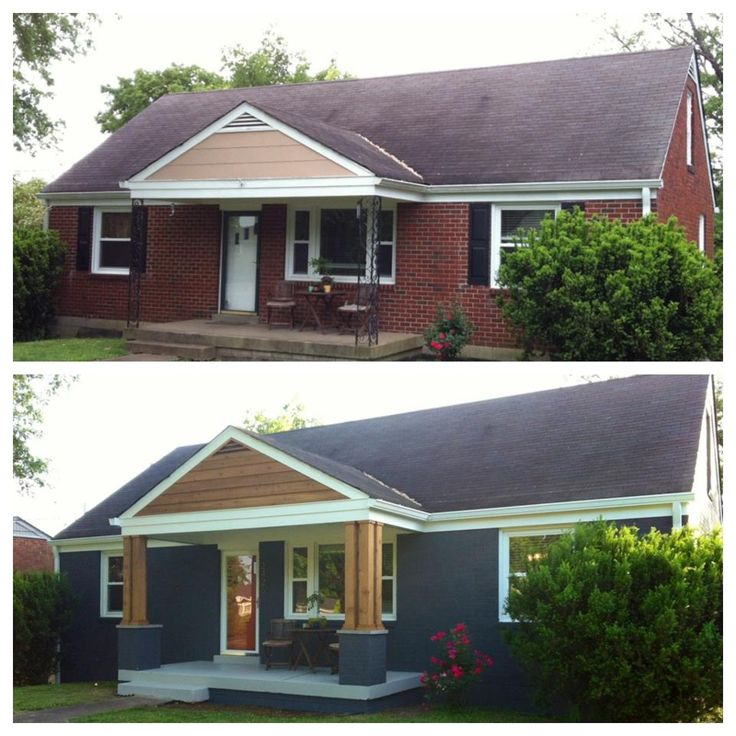 Before and after shots of front porch remodel