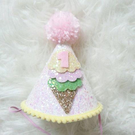 Glittery Ice Cream theme Birthday Party Hat First Birthday, baby, Birthday, cake smash, 1st birthday, baby birthday,