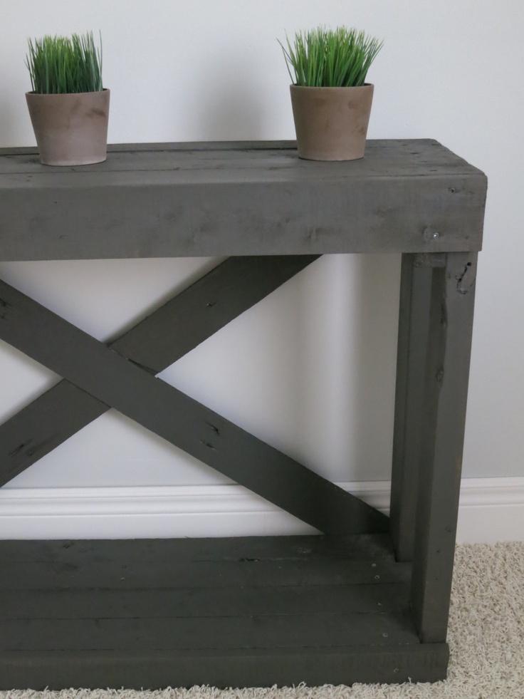 Farmhouse Console Table - Reclaimed Wood - Urbane Bronze Finish.