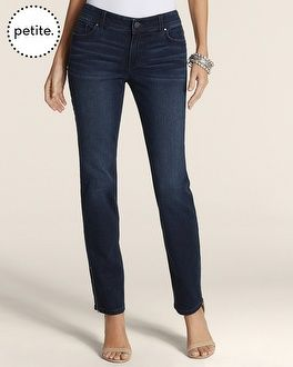 Chico's Petite So Slimming By Chico's Dark Vintage Zip Ankle Jean #chicos