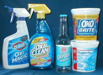 Sodium Percarbonate-  Same as all those Oxy-cleaners. Way cheaper! Buy at pool supply stores.