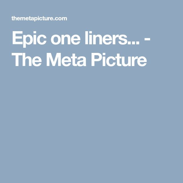 Epic one liners... - The Meta Picture