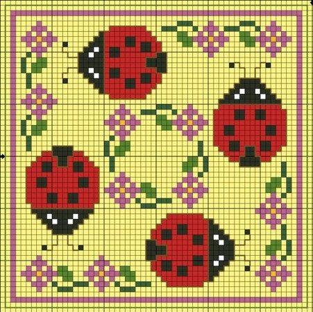 Ladybugs Biscornu pattern: