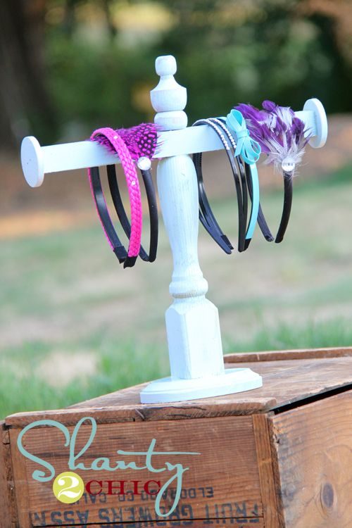 DIY shabby-chic jewelry display.  Square dowel, 2 wood craft circles, wood oval or other shape for base, wooden finial, wood spindle, acrylic or spray paint & Gorilla glue.