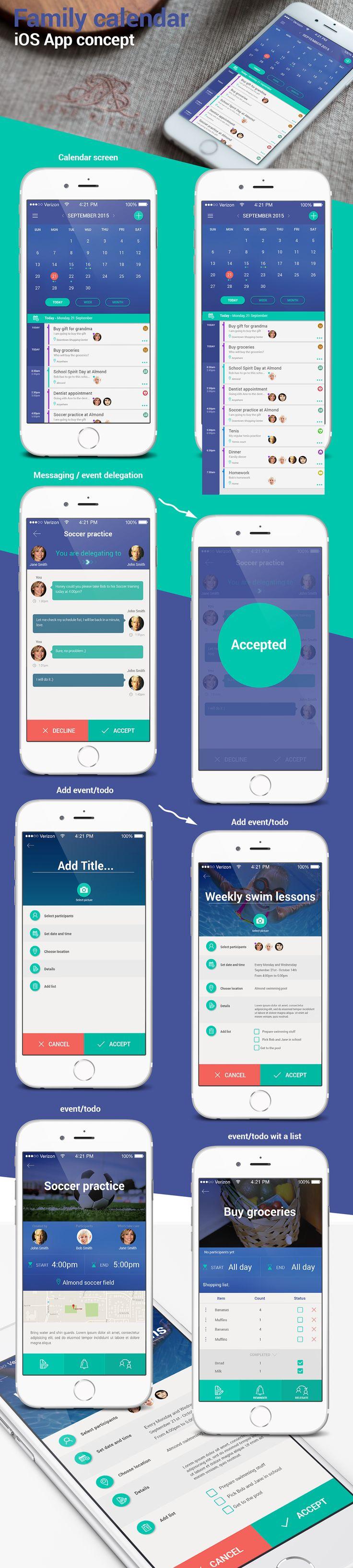 Family calendar iOS app concept on Behance