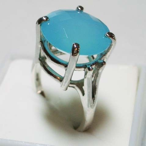 Solid Sterling Silver Blue Chalcedony Ring     6263 by jewelrypro, $69.95