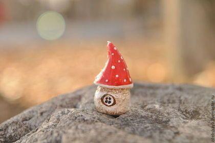 Домик Мухоморчик - ярко-красный,мухомор,домик,минискульптура,Маленький подарок