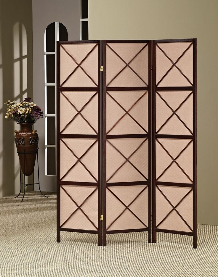 3 panel espresso finish wood room divider screen with x design panels
