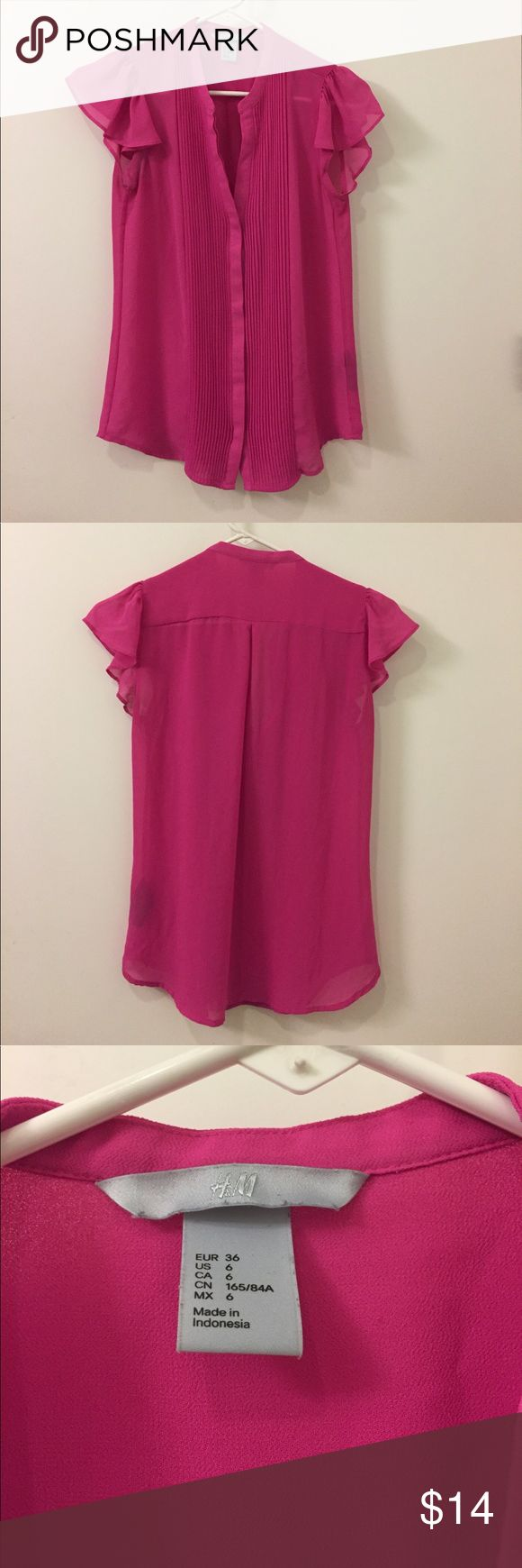 Pink top from h&m Cute bright / hot pink top from h&m! Runs small so fits like small in other brands. Barely used, but small mark on right armpit area. H&M Tops Blouses