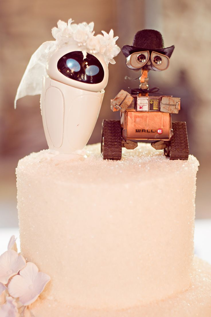 Cute Wall-E and EVE Wedding Cake Top Decorations photo by From the Hip