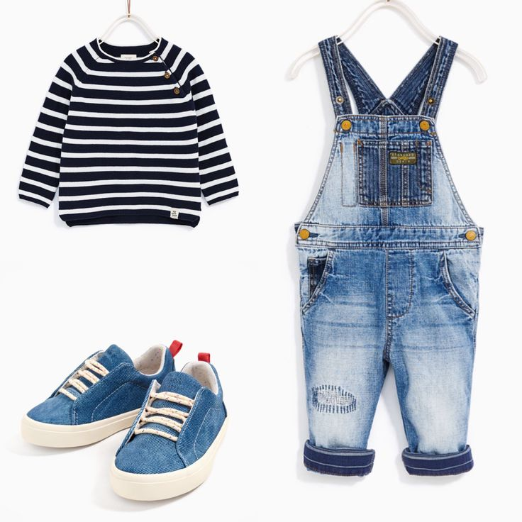 Zara baby boy casual outfit. Denim dungarees, striped sweater and denim trainers. Zara spring 2017 collection.