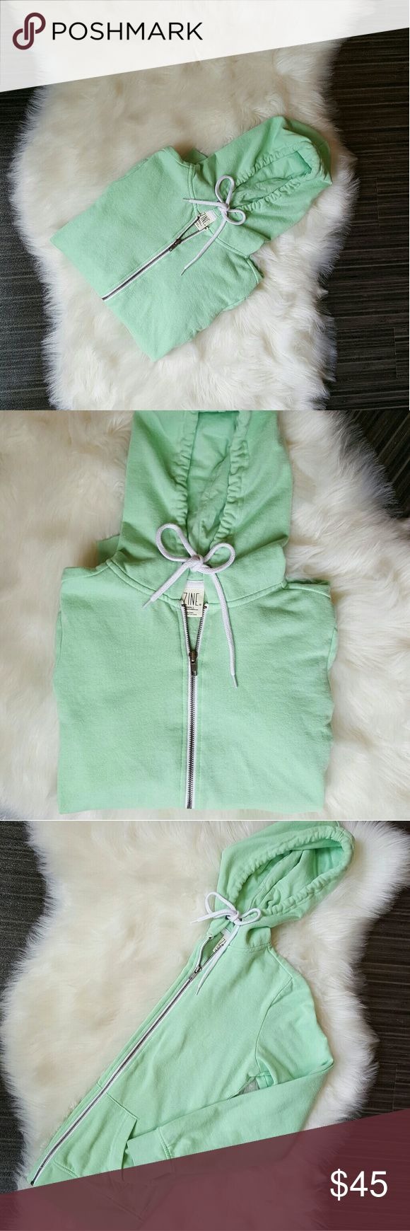 Zine Light Lime Green Zip-up Hoodie Women's extra small, lime green hoodie, beautiful and super comfortable!  Excellent condition!   Accepting only reasonable offers, thank you! Zine Clothing Tops Sweatshirts & Hoodies