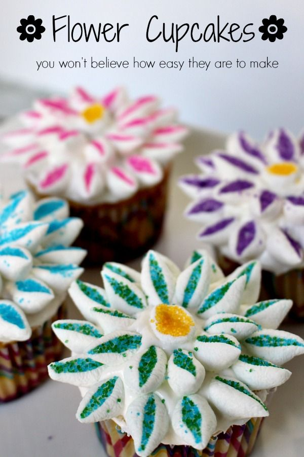 SUPER EASY flower cupcakes - seriously, if I can do this, you can too!!!  #easdesserts #easycupcake #cookingwithkids
