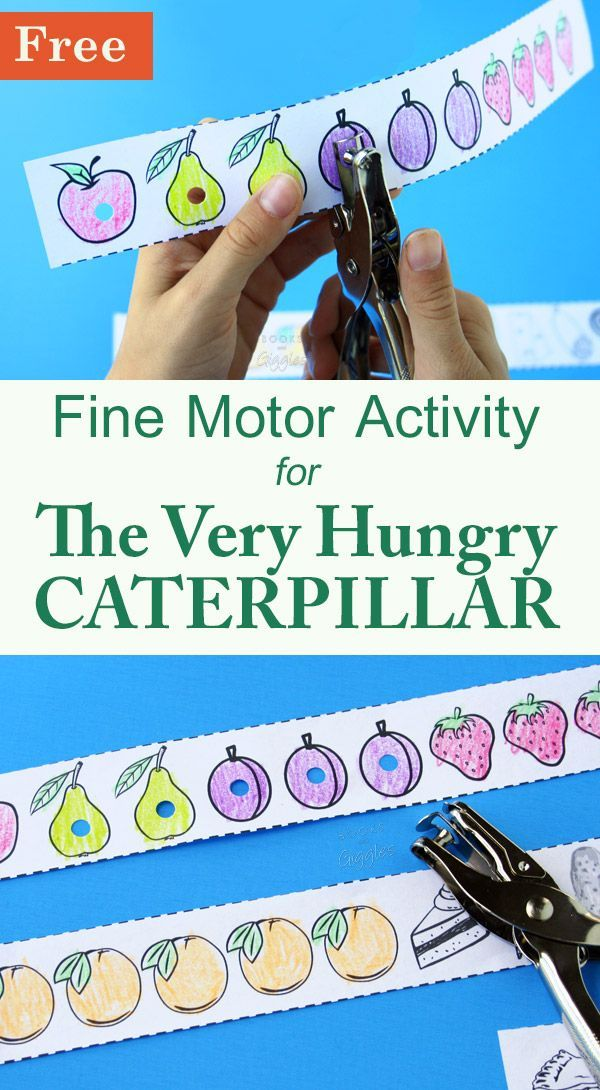 The Very Hungry Caterpillar activity - a fun way for preschoolers to practice fine motor and pre-reading skills.