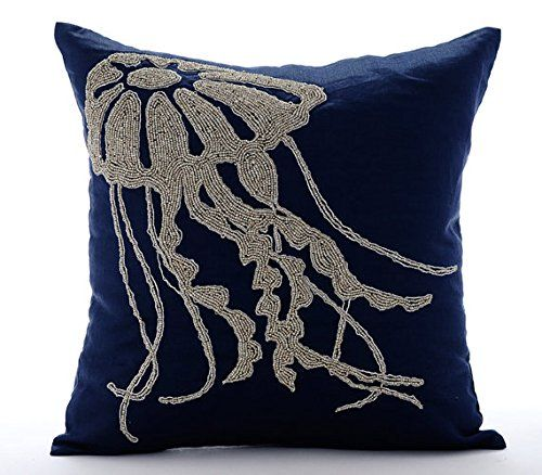 Navy Blue Throw Pillows Cover, Beaded Jelly Fish Sea Crea... https://www.amazon.com/dp/B016H8WW1S/ref=cm_sw_r_pi_dp_x_NRiGyb767Q1YK
