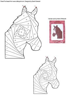 Horse Head Iris Folding Pattern on Craftsuprint designed by Sarah Edwards - An iris folding pattern of the head of a horse.This pattern comes in two sizes to suit your crafting projects. One will fit on an A5 sized card and the other on an A6 card, but of course you can use them on different sized cards too! - Now available for download!
