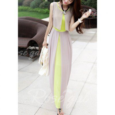 Sleeveless Scoop Neck High Waistline Stitching Cape-style Ladylike Women's Dress | Rosegal.com