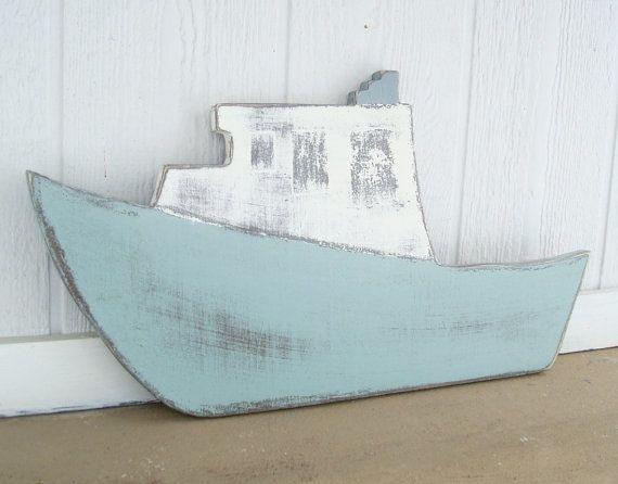 wood boat nautical art fishing boat country by folkybirdsandfish, $30.00