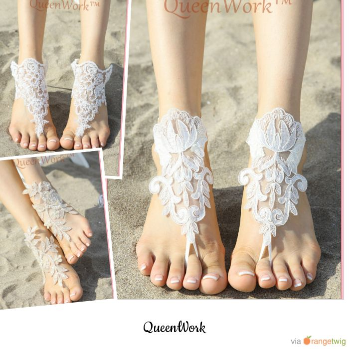 LACE BAREFOOT SANDALS for BEACH WEDDING at Queenwork.etsy.com #barefootsandals #beachsandals #weddingsandals #lacesandals #crochetsandals #etsyshop #etsy #etsysellers #bridesmaidgift #bridalsandals #lacepatternsandals #beachwedding #barefoots #beachweddingshoes #unique #crochetpattern #beachfashion #footjewelry #yoga #destination #embroidered #footless #sandles #anklets #nudeshoes #etsywedding