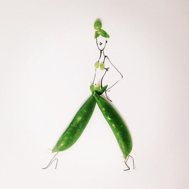 Artist Gretchen Röehrs completes her playful fashion illustrations by utilizing colorful food items, as a finishing touch. From a rustic slice of bread to leafy greens, Röehrs has the ability to transform these edibles into pieces that are reminiscent of structured, flowing, and shapely articles of clothing. In each illustration, the foods are manipulated so that they mirror the human body's many curves and angles. The twisted banana, deep red cherries, layered artichoke, and other…
