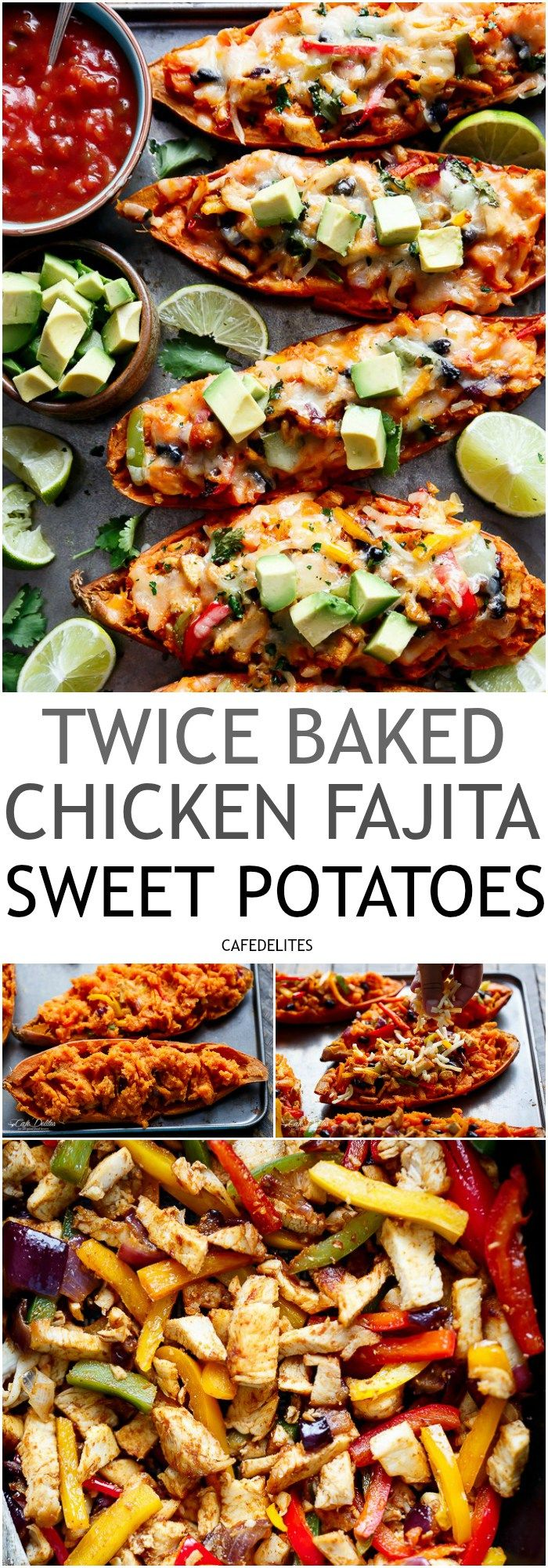 TWICE BAKED CHICKEN FAJITA SWEET POTATOES