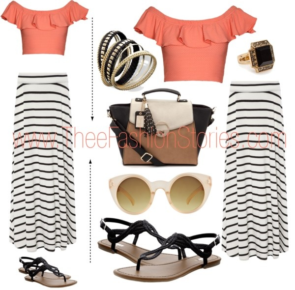 """""""Stripe Maxi Skirt + Coral Cropped Top"""" by jasmine-cooper ❤ liked on Polyvore"""