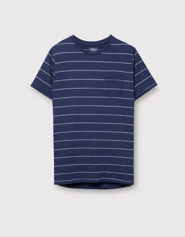 Pull&Bear - man - t-shirts - striped t-shirt with pocket - navy - 09242563-V2016