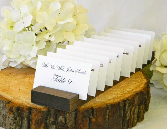 Rustic  Wedding 3 inch Wood Plank Place Card Holder- Set of 10 (Holds 100 place cards)