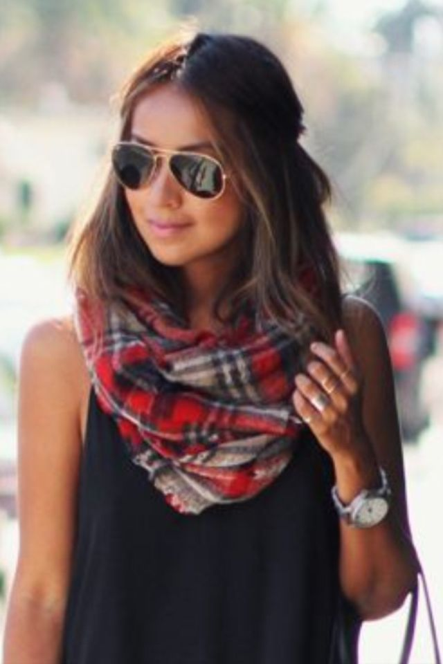 mixing simple tops with plaid. sincerely jules.