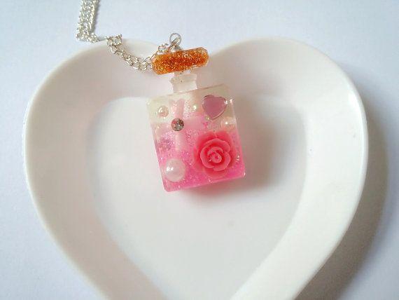 Resin Pink Flower Perfume Bottle Necklace by LittleWoolShop, $14.00