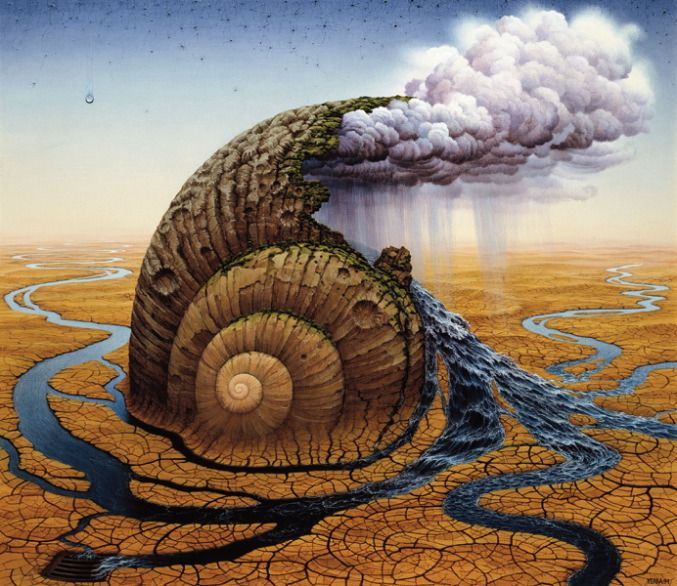 Second Day of Creation by Jacek Yerka. Surrealism. symbolic painting