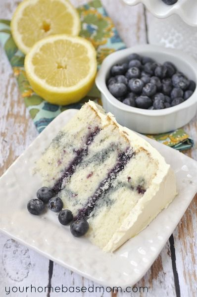 Creamy Layered Lemon Blueberry Marble Cake - my birthday cake request...
