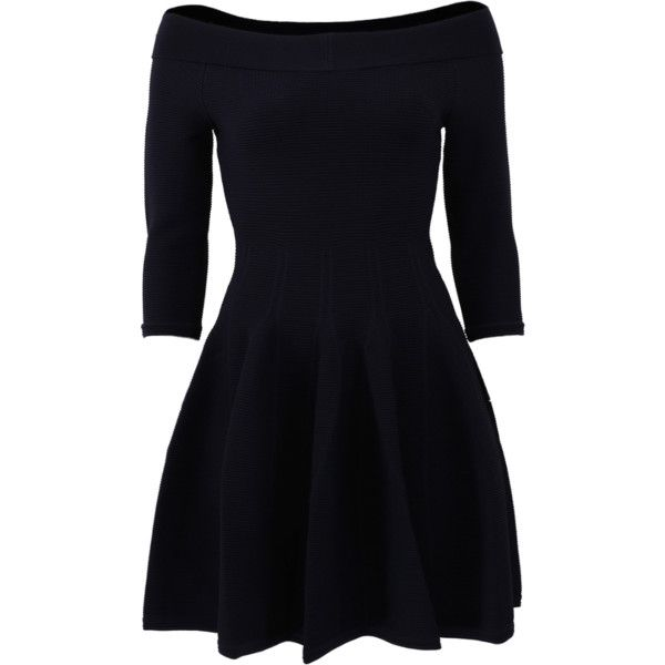Jonathan Simkhai Off The Shoulder Knit Dress ($495) ❤ liked on Polyvore featuring dresses, navy blue dress, three quarter sleeve dress, jonathan simkhai, blue knit dress and blue dress