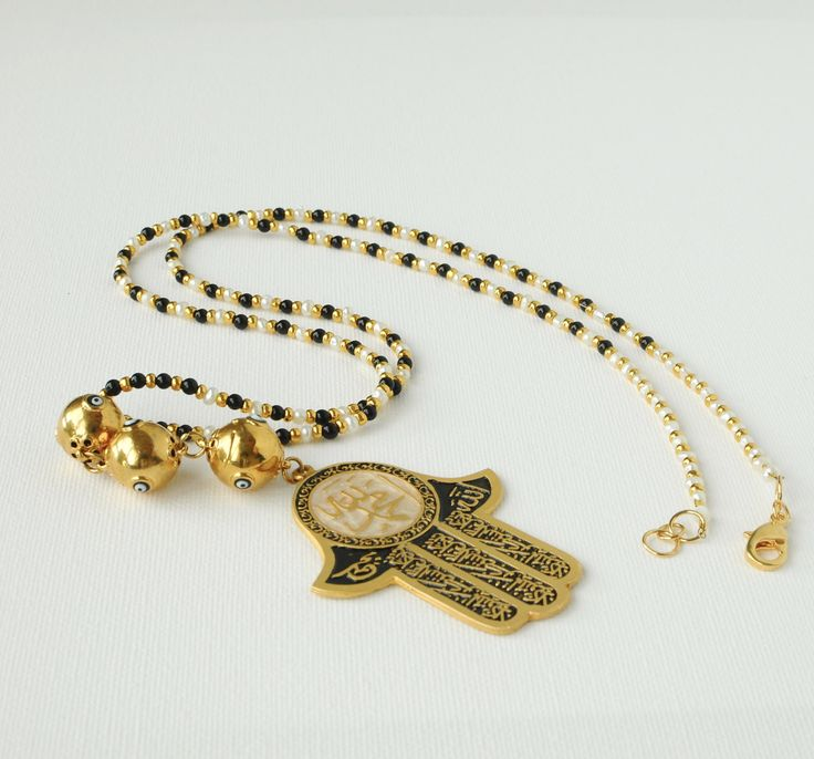 Gold Hamsa Hand and Evil Eye Necklace. Hand of Fatima with Pearl and Onyx. Middle Eastern Style Necklace. by INJIJEWELRY on Etsy