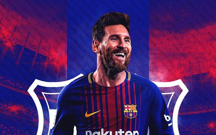 Download wallpapers Lionel Messi, Argentinian football player, Barcelona FC, portrait, smile, football star, Catalonia, Spain, art, La Liga