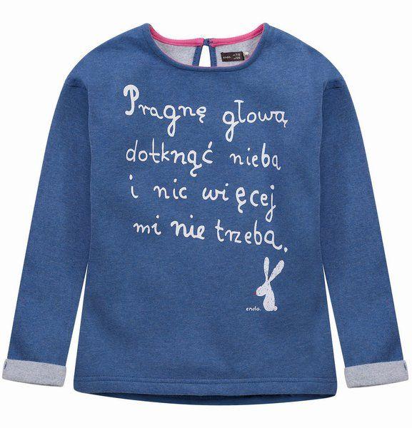 """Ocieplana bluza dla dziewczynki. Kolekcja: """"Z głową w chmurach"""""""