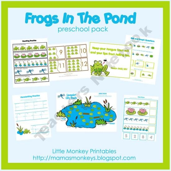 Frogs In The Pond Preschool Pack