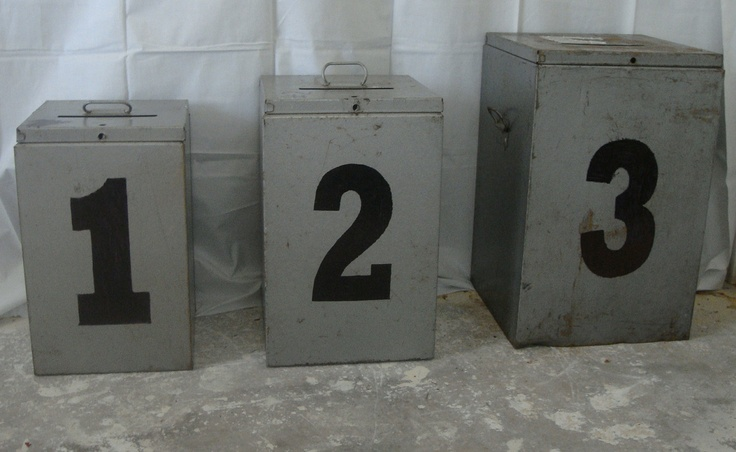 VINTAGE Voting Ballot Suggestion Box Metal Storage INDUSTRIAL Political Office-3 different sizes. $28.00, via Etsy.