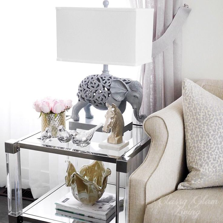 Living Room Decor | Lucite Side End Table | Side Table Styling | Classy  Glam Living