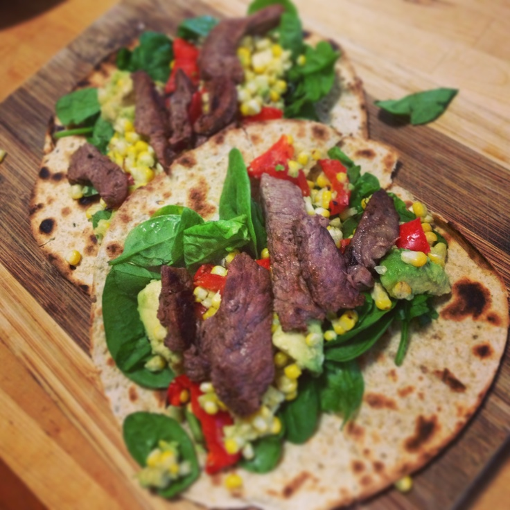 Chargrilled Beef with corn & Capsicum Salsa - this time served on a wrap - 12WBT dinner!