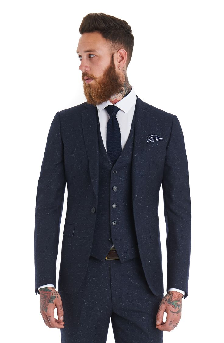 This Moss London slim fit blue speckled 3 piece suit is single ...