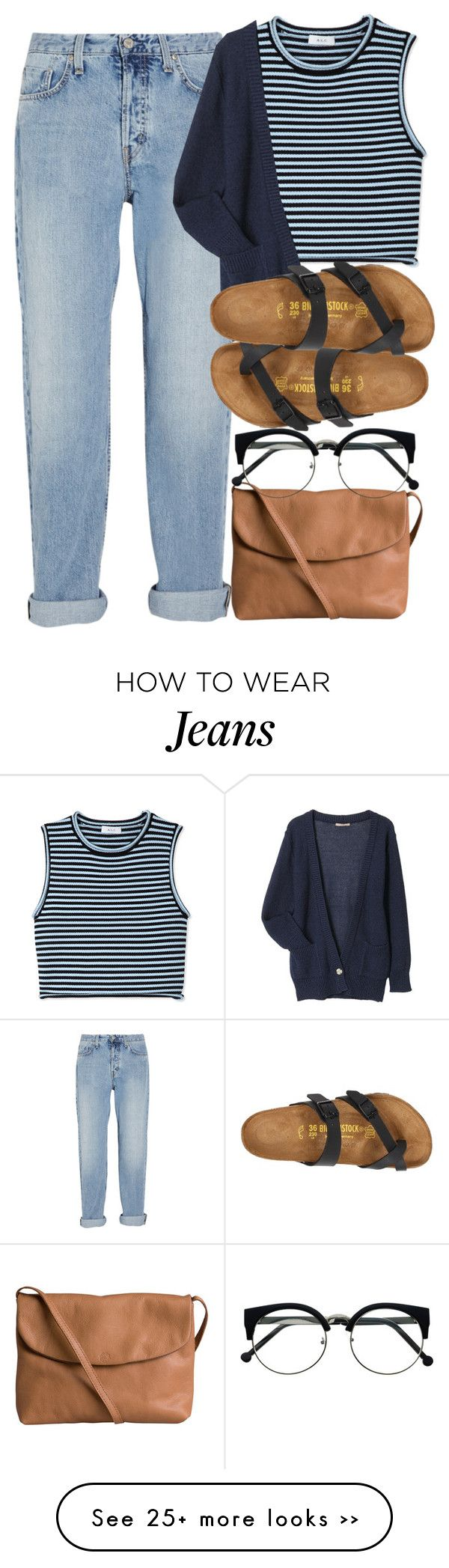 """""""Untitled #1313"""" by noka76 on Polyvore featuring Pieces, MiH Jeans, A.L.C. and Birkenstock"""