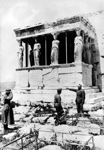 The Nazi propaganda picture shows soldiers of the German Wehrmacht on the Acropolis of Athens after the conquest of the city. The photo was taken in April 1941. Photo: Berliner Verlag / Archive - NO WIRE SERVICE -