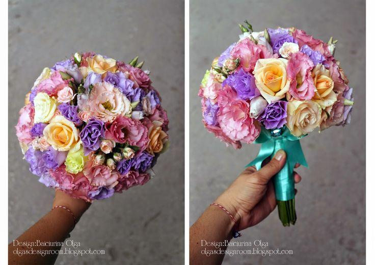 Baiciurina Olga's Design Room: Mint&Pink&violet wedding bouquet-Яркий букет невесты в розово-фиолетовом цвете с ментоловым акцентом.