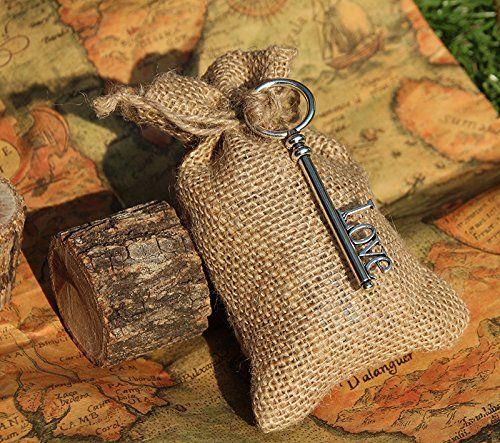 20 small rustic natural burlap bags w love skeleton key for Decorative burlap bags