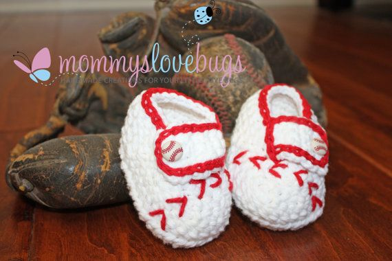 Hey, I found this really awesome Etsy listing at http://www.etsy.com/listing/92412735/baseball-crochet-booties-for-a-girl-or-a