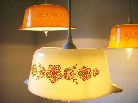 pyrex!: Casseroles Dishes, Mixed Bowls, Lights Fixtures, Vintage Pyrex, Pendants Lights, Type, Gold Patterns, Wax Lights, Retro Kitchens